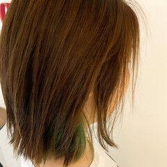 ボブ ガーリー 外ハネボブ インナーカラー ヘアスタイルや髪型の写真・画像