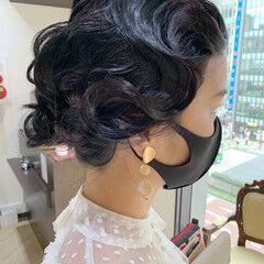 セミロング ヘアアレンジ モード ゆるふわセット ヘアスタイルや髪型の写真・画像
