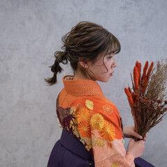 セミロング ポニーテールアレンジ 袴 フェミニン ヘアスタイルや髪型の写真・画像