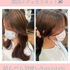 フェミニン セミロング 後れ毛 韓国ヘア ヘアスタイルや髪型の写真・画像