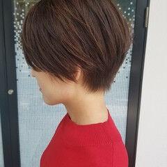 美シルエット ナチュラル ショートボブ ショート ヘアスタイルや髪型の写真・画像