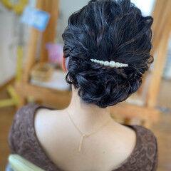 お呼ばれヘア ヘアアレンジ ミディアム 結婚式ヘアアレンジ ヘアスタイルや髪型の写真・画像