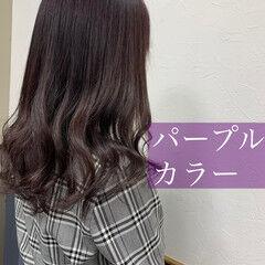 ブルーラベンダー セミロング パープルカラー パープルアッシュ ヘアスタイルや髪型の写真・画像