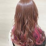 インナーカラー セミロング インナーピンク 裾カラー