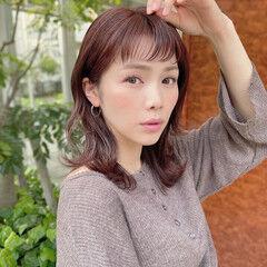 ナチュラル ゆるふわセット レイヤースタイル 暖色 ヘアスタイルや髪型の写真・画像