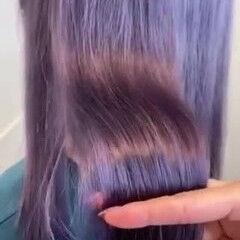 韓国風ヘアー バイオレットカラー フェミニン セミロング ヘアスタイルや髪型の写真・画像