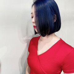 ネイビー フェミニン ブルーバイオレット ネイビーブルー ヘアスタイルや髪型の写真・画像