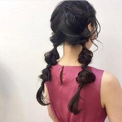 フェミニン くるりんぱ ツインテール ロング ヘアスタイルや髪型の写真・画像
