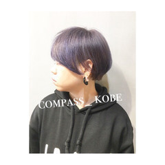 ベージュ イノセントカラー パープル モード ヘアスタイルや髪型の写真・画像