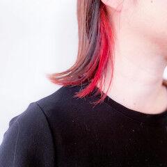 ポイントカラー ミディアム 切りっぱなしボブ ブリーチ ヘアスタイルや髪型の写真・画像
