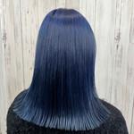 ブルー ミディアム 切りっぱなし 髪質改善トリートメント