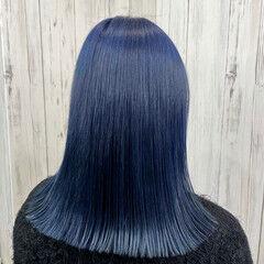 ブルー ミディアム 切りっぱなし 髪質改善トリートメント ヘアスタイルや髪型の写真・画像