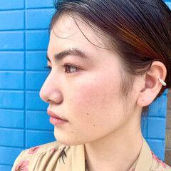 ミディアム 大学生 モード セルフヘアアレンジ ヘアスタイルや髪型の写真・画像