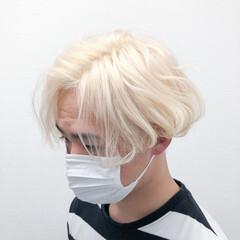 ホワイトブリーチ ブリーチオンカラー ブリーチカラー ホワイト ヘアスタイルや髪型の写真・画像