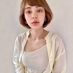 ひし形シルエット ショート フェミニン ミニボブ ヘアスタイルや髪型の写真・画像