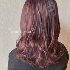 ガーリー ピンクパープル ピンクラベンダー ミディアム ヘアスタイルや髪型の写真・画像
