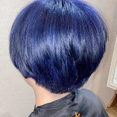 ブルーバイオレット マッシュショート ショート ダブルブリーチ ヘアスタイルや髪型の写真・画像