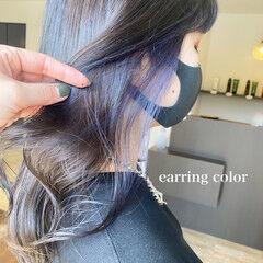 イヤリングカラー セミロング インナーラベンダー インナーカラー ヘアスタイルや髪型の写真・画像