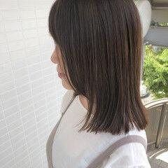フェミニン ミディ ロブ 切りっぱなしボブ ヘアスタイルや髪型の写真・画像