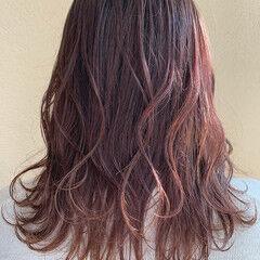 ラベンダーピンク ピンクラベンダー ショコラブラウン ナチュラル ヘアスタイルや髪型の写真・画像