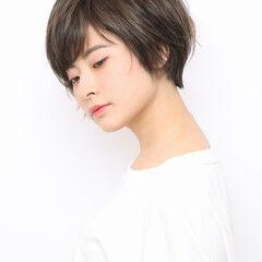 ナチュラル 透明感カラー 簡単スタイリング ショートヘア ヘアスタイルや髪型の写真・画像