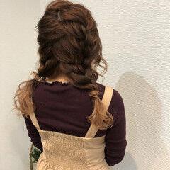 ツインテール ガーリー ヘアアレンジ セミロング ヘアスタイルや髪型の写真・画像