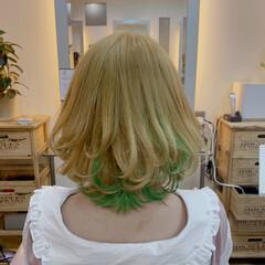 ボブ ヘアマニキュア ガーリー インナーグリーン ヘアスタイルや髪型の写真・画像