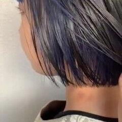 ネイビーカラー ネイビー ナチュラル ストレート ヘアスタイルや髪型の写真・画像