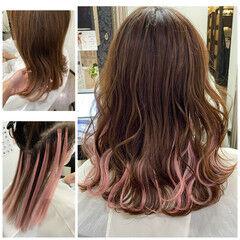 ピンク エクステ ミディアム 前髪エクステ ヘアスタイルや髪型の写真・画像