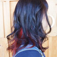 レッド ロング ストリート インナーカラー ヘアスタイルや髪型の写真・画像
