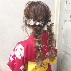 ガーリー 夏 編み込み ヘアアレンジ ヘアスタイルや髪型の写真・画像