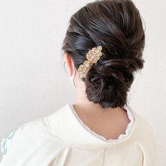 ミディアム 着物 エレガント 和装ヘア ヘアスタイルや髪型の写真・画像