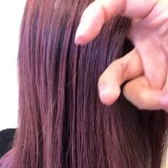 バレイヤージュ ラズベリーピンク モード エアータッチ ヘアスタイルや髪型の写真・画像