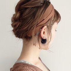 簡単ヘアアレンジ 編み込み ナチュラル ヘアアレンジ ヘアスタイルや髪型の写真・画像