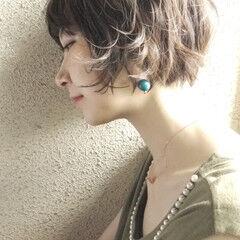 エレガント 小顔 ショート ゆるふわ ヘアスタイルや髪型の写真・画像