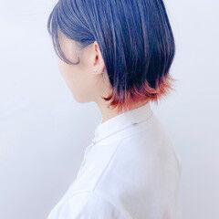 オレンジ ショート 裾カラーオレンジ 裾カラー ヘアスタイルや髪型の写真・画像