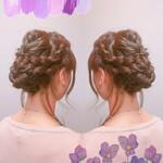 ヘアアレンジ まとめ髪 編み込み セミロング