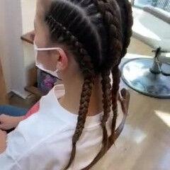 ストリート セミロング コーンロウ ヘアスタイルや髪型の写真・画像