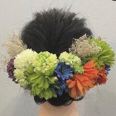 ドライフラワー 結婚式ヘアアレンジ フェミニン ヘアセット ヘアスタイルや髪型の写真・画像