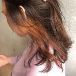 アプリコットオレンジ インナーカラー イヤリングカラー ミディアム