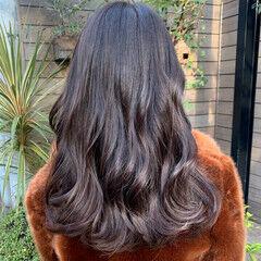 ロング イルミナカラー オルチャン フェミニン ヘアスタイルや髪型の写真・画像