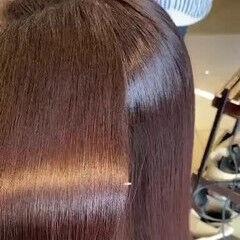 髪質改善トリートメント ロング レッド トリートメント ヘアスタイルや髪型の写真・画像