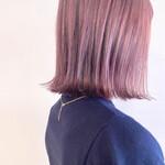 ショートヘア 透明感カラー チェリーピンク ボブ