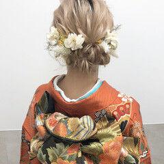 セミロング 成人式ヘア 成人式ヘアメイク着付け シニヨン ヘアスタイルや髪型の写真・画像