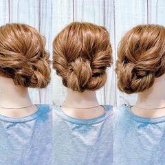 フェミニン ロング セルフヘアアレンジ ヘアセット ヘアスタイルや髪型の写真・画像