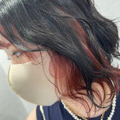 夏 ブリーチカラー インナーカラー フェミニン ヘアスタイルや髪型の写真・画像