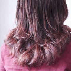 ラベンダーピンク ロング モーブ ベリーピンク ヘアスタイルや髪型の写真・画像