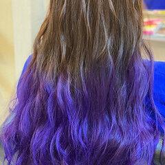 ロング グラデーションカラー ガーリー ブルーグラデーション ヘアスタイルや髪型の写真・画像