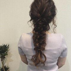 編みおろしヘア りぼん 編みおろし リボンアレンジ ヘアスタイルや髪型の写真・画像