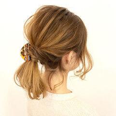 ヘアアレンジ 簡単ヘアアレンジ ナチュラル ミディアム ヘアスタイルや髪型の写真・画像